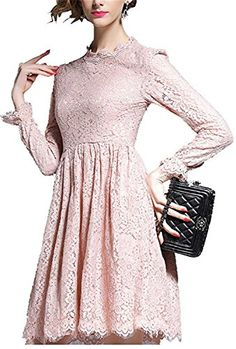 ainrving Womens Sexy Retro Long Sleeve Lace Bottoming Party Clubwear Dress Flesh pinkLarge * ** AMAZON BEST BUY **