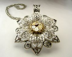 Steampunk / Goth / Cosplay Victorian Filigree Flower / Butterfly pendant/necklace with chain