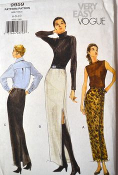 Sewing Pattern  Vogue 9959 Misses' Skirts Size 6-8-10 Uncut Complete by GoofingOffSewing on Etsy