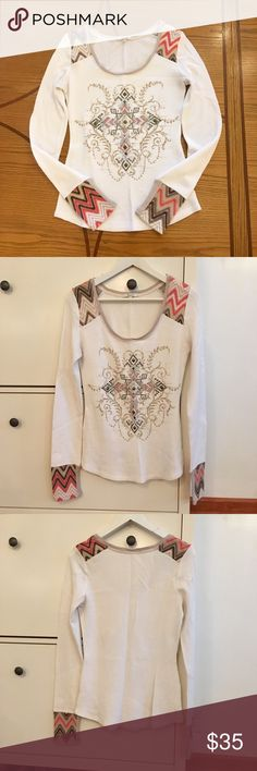 Southwestern / Aztec Thermal Top by Miss Me Long sleeve thermal with Southwestern / Aztec bling! Great condition! Price just reduced from $35! Miss Me Tops Tees - Long Sleeve