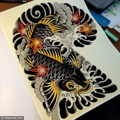 Risultati immagini per shaun the african tattoos dragon Dragon Koi Fish, Koi Dragon Tattoo, Tattoo Fish, Koi Tattoo Sleeve, Japanese Sleeve Tattoos, Japanese Koi Fish Tattoo, Japanese Tattoo Designs, Koi Fish Colors, Colorful Sleeve Tattoos