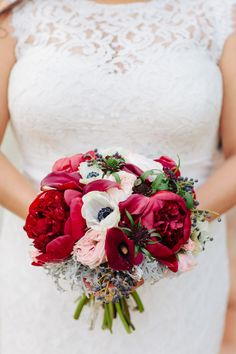 Winter Wedding Bouquet of Deep Red Peonies & White Anemones with a smattering of Pink Roses ~ we ❤ this! moncheribridals.com