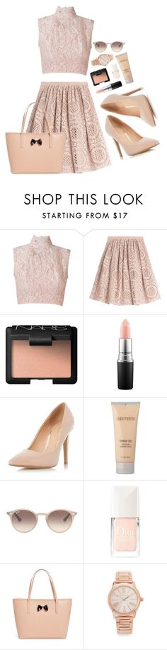 """""""blushing"""" by queenofchill ❤ liked on Polyvore featuring Martha Medeiros, Burberry, NARS Cosmetics, MAC Cosmetics, Dorothy Perkins, Laura Mercier, Ray-Ban, Christian Dior, Ted Baker and Michael Kors"""