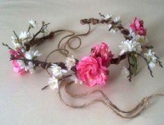 Unique Cherry Blossom Flower Crown Woodland Bridal by AmoreBride, $49.00