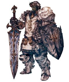 Paladin concept art from Final Fantasy XIV, movement, Triangle composition, transition