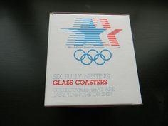 Four 1984 Los Angeles Olympics Coasters Set w/ Original BOX