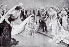 This is an image of a court presentation in the Edwardian era. My heroine's father goes to great trouble and expense to ensure his daughter is presented to the king and queen (Edward VII and Alexandra) to increase her chances of a 'good' marriage. Victoria Reign, Queen Victoria, Edwardian Era, Edwardian Fashion, Vintage Fashion, Michelangelo, Czar Nicolau Ii, Alexandra Of Denmark, Uk History