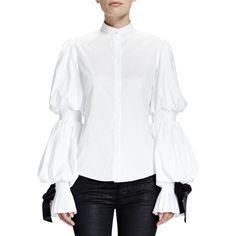 Alexander McQueen Women's Puffed Sleeve Blouse W/ Ribbon Cuffs