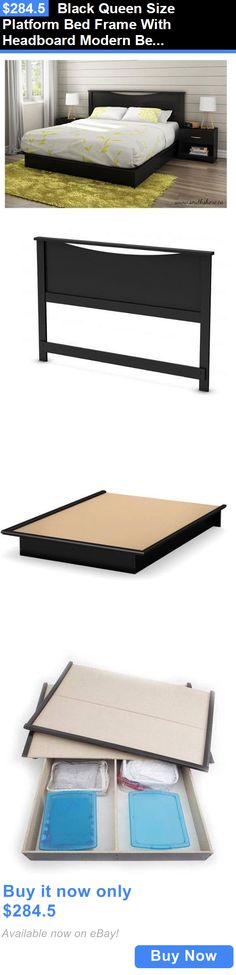 furniture: Black Queen Size Platform Bed Frame With Headboard Modern Bedroom Furniture New BUY IT NOW ONLY: $284.5