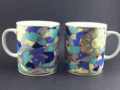 2 Funky 60's 70's Sun Moon Stars Galaxy Celestial Coffee Cup Mugs Made in Japan #GoldTrimStainGlassLookRetroHippieFarOut