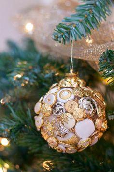 basteln mit knöpfen weihnachtsschmuck