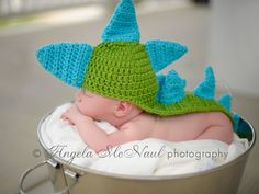 Crochet Baby Hat Dinosaur Tail Green and Blue for Baby Boy Photography Prop Newborn or 0-3 M Size. $25.00, via Etsy.
