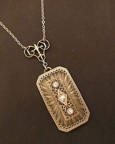 Antique Vtg Art Deco Sterling Silver Camphor Glass Lavalier Necklace