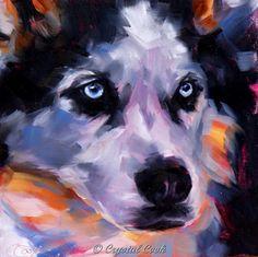 Winter dog art Siberian Husky oil painting pet by CrystalCookArt, $100.00