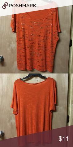 Cupio Orange Top Scoop neck Cupio Tops Tees - Short Sleeve