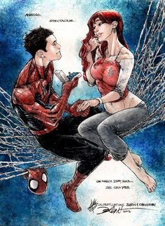 Spiderman Peter Parker and Mary Jane