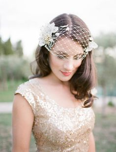 Persephone Vintage Brooch Birdcage Wedding Veil