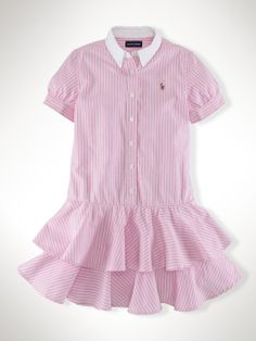 Striped Cotton Oxford Dress - Dresses & Rompers   Girls 7–16 - RalphLauren.com