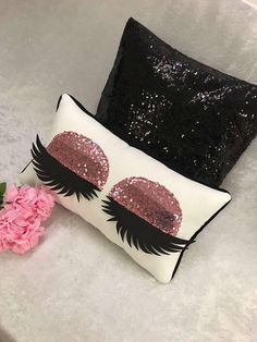 Items similar to Mini Eyelash Pillow Handmade Eyelashes Silver Gold Rose Gold Sequin Eyeshadow Pillow Make up Pillow Eyelash sign on Etsy Cute Pillows, Diy Pillows, Decorative Pillows, Eyelash Pillow, Lash Room, Gold Eyeshadow, Makeup Eyeshadow, Beauty Room, Accent Pieces