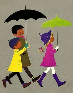 Illustration by: Elisabeth Brozowska  Printed in: 1969 ; walking in the rain