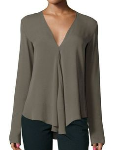 Shop Army Green V Neck Long Sleeve Loose Blouse online. SheIn offers Army Green…