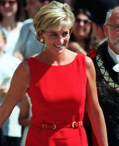 Diana, Princess of Wales, wearing a design by Catherine Walker, one of her favourite designers