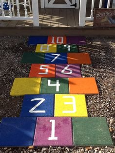 Hopscotch From Painted Cement Pavers For The Kids