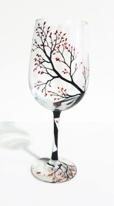 Hand Painted Wine Glass Autumn Branches Fall Leaves Red Orange Ombre Beautiful Artwork Collectible Seasonal Unique Gift Anniversary Birthday - pinned by pin4etsy.com