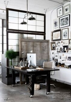 {use those door dividers for my closet doors on the west side of the office } Rejuvenation Home Office Inspiration: industrial vibe Home Office, Industrial Office, Industrial Interiors, Industrial Style, Industrial Lighting, Vintage Lighting, Vintage Industrial, Industrial Bedroom, Industrial Design