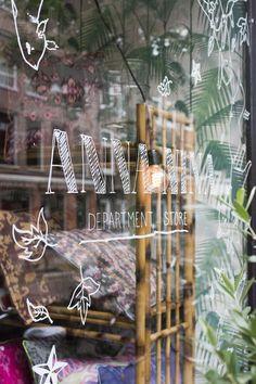 window decals, hand drawn font, shopfront