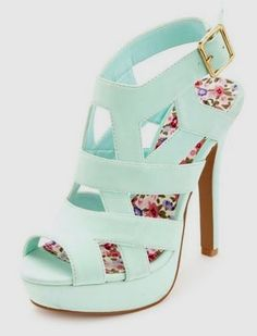 Gorgeous Mint Heels These mint high heels are just adorable with back buckle closure and floral printed sole. Cute caged design gives a gorgeous look. - female shoes online, shoes and boots online, where buy shoes online *ad Dream Shoes, Crazy Shoes, Me Too Shoes, Heels Outfits, Nike Outfits, Pretty Shoes, Beautiful Shoes, Gorgeous Heels, Zapatos Shoes