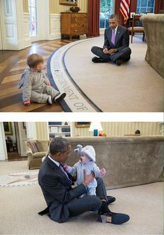 Born in Hawaii, USA, Christian, Mr President Obama playing with a White House Staff Member's Child in the Oval Office of the White House. Black Presidents, Greatest Presidents, American Presidents, Michelle Obama, First Black President, Mr President, Presidente Obama, Barack Obama Family, Barrack Obama