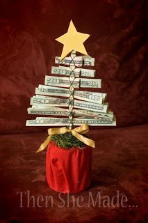 DIY Christmas Money Tree Gift - Creative way to gift money! Diy Christmas Tree, All Things Christmas, Winter Christmas, Christmas Holidays, Christmas Decorations, Christmas Ornaments, Handmade Christmas, Xmas Tree, Christmas Ideas