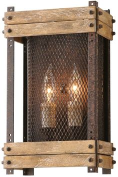 Troy Lighting Merchant Street 2 Light Wrought Iron Wall Sconce with Wooden Rusty Iron Indoor Lighting Wall Sconces