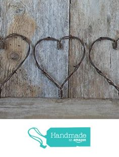 Country Charm meets Shabby Chic Set of two Barb wire Large and Medium Rustic Heart Barbed wire heart Primitive metal art. A Piece of theOld West