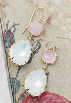 White Opal Swarovski Crystal with pink opal Glass Dangle Earrings