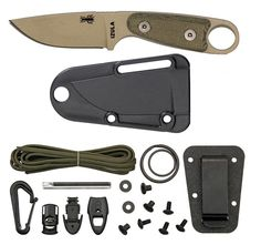 ESEE Izula Desert Tan Fixed Blade Survival Knife with Grey Micarta Handle, Molded Polymer Sheath, and Survival Kit