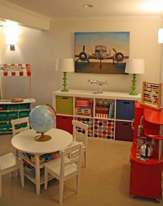 Basement play room ideas for my dream house playroom decor kids learning guest craft table and chairs shelves kitchen Basement Remodeling, Basement Ideas, Kids Basement, Finished Basement Playroom, Basement Decorating Ideas, Basement Play Area, Basement Guest Rooms, Basement Office, Rustic Basement