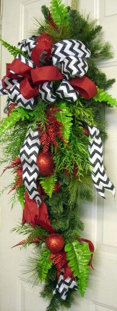 Christmas Swag Christmas Wreath Swag Red Swag Door by LisasLaurels, $69.00