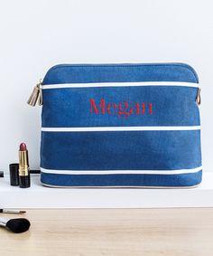 3fd5c74c98 Blue Stripe Personalized Cosmetic Bag