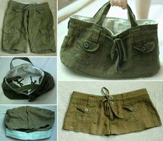 DIY Tote Bag From Old Shorts #diy #crafts
