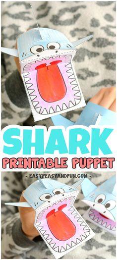 Shark Puppet Printable Template #sharkcrafts #printablecrafts #craftsforkids