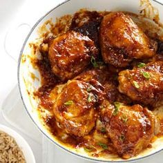 Asian Chicken Thighs Recipe -A thick, tangy sauce coats the golden brown chicken pieces. Serve them over long grain rice or with ramen noodle slaw. — Dave Farrington, Midwest City, Oklahoma