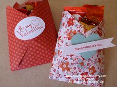 Stampin' Up! Valentine Treat Pouches using an envelope! Created by Carol Walsh at www.carolspolkadotparty.com