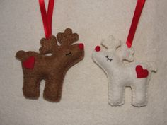 Wool Felt Reindeer Christmas Ornaments Set of 2 Felt by NitaFeltThings