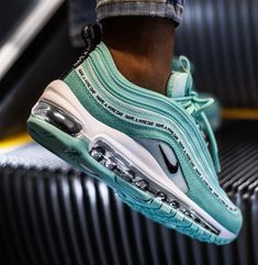 Nike Air Max 97 SE GS tropical Twist Teal Tint BlackYou can find Nike air max and more on our website. Cute Sneakers, Sneakers Nike, Black Sneakers, Running Sneakers, Running Shoes, Tennis Sneakers, Souliers Nike, Sneakers Fashion, Fashion Shoes