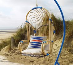 Cool Hanging Chairs For Indoor And Outdoor : Enticing Lyra Rattan Hanging  Chair Design Inspiration With Blue Curved Stand And Beige Fish Pat.