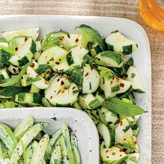 Cucumbers with Ginger, Rice Vinegar, and Mint Recipe