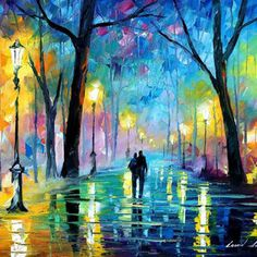 """Fog In The Park — PALETTE KNIFE Landscape Oil Painting On Canvas By Leonid Afremov - Size: 40"""" x 30"""""""