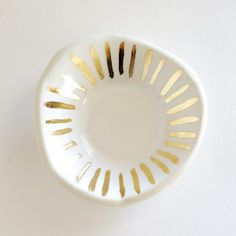 White and Gold Ring Dish. By theobjectenthusiast.